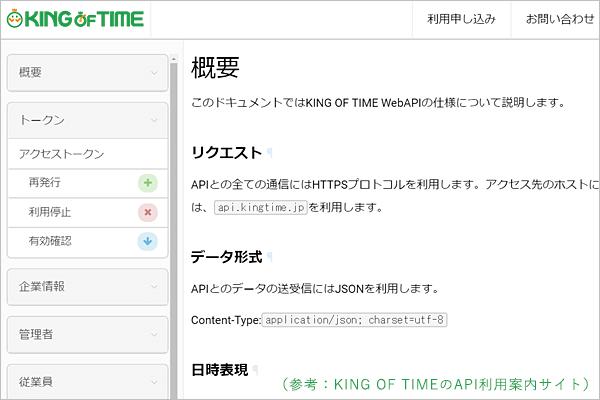 勤怠管理API利用案内のサイト
